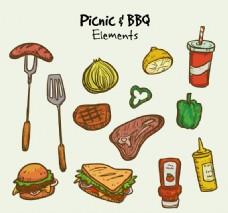 13款野餐烧烤食物和物品矢量