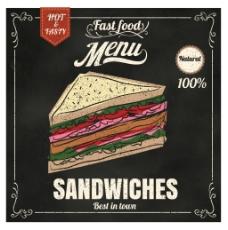 西餐厅矢量手绘三明治餐馆菜单EPS素材