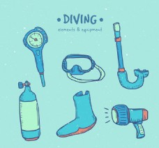 6款彩绘潜水用品矢量