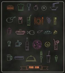矢量手绘西餐美食餐具图标EPS素材