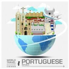 创意葡萄牙建筑插画