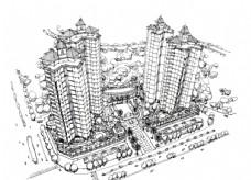 建筑手绘鸟瞰线稿