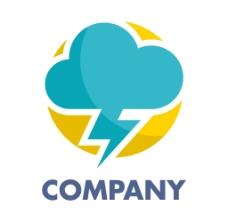蓝色云朵闪电logo