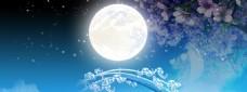 精美蓝色月亮banner背景
