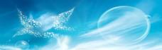 蓝色云层banner背景