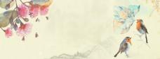 鸟语花香电商banner背景