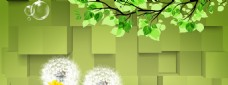 绿色树枝小清新banner背景