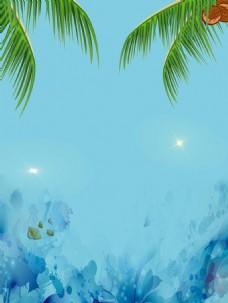 绿色树叶蓝天油画背景