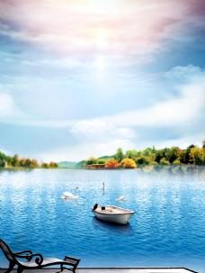 小清新休闲湖边小船背景