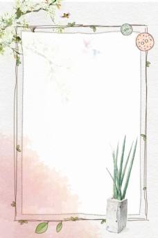 手绘水墨兰花边框背景