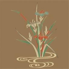 水上兰花背景图