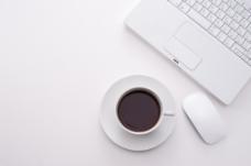 简约办公咖啡电脑背景