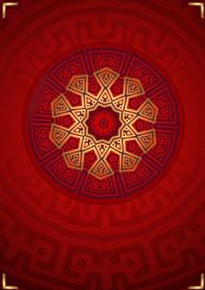 红色花纹几何边框背景