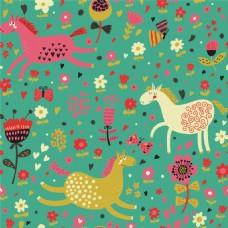 手绘彩色花朵马儿背景图