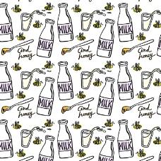 手绘牛奶和蜜蜂无缝背景矢量