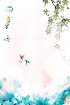 中国风绿藤蝴蝶吊坠背景