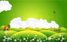 小清新绿色山坡背景