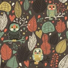 手绘彩色树叶猫头鹰无缝背景图