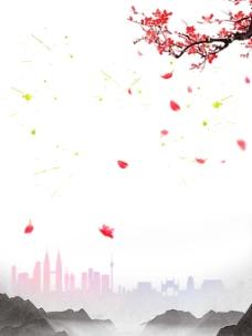 中国风水墨梅花背景
