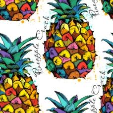 手绘时尚彩色菠萝背景
