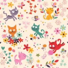 彩绘猫咪花朵无缝背景图
