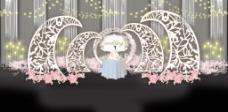 雕花花艺线帘吊顶灯泡装饰婚礼展示效果图