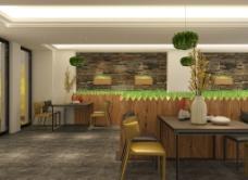 中岛造型原木吧台散台区背景墙绿植