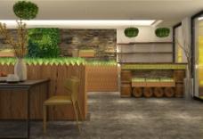 中岛造型原木吧台绿植工装效果图