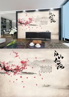 中国风梅花山水江山如画大气背景墙