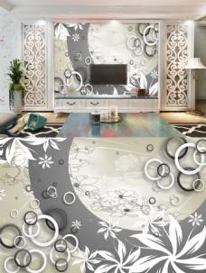 奢华黑白花朵背景墙