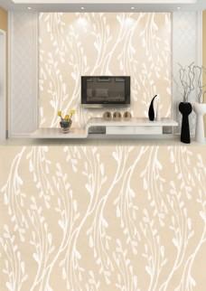 现代简约米色淡雅树枝花纹背景墙