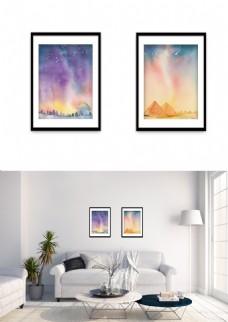 现代星空水彩夜景风景装饰画