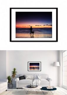 现代夕阳人物剪影海边风景装饰画
