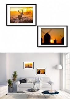 现代夕阳夜景麋鹿风车风景装饰画