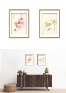 中国风水墨桃花典雅装饰画