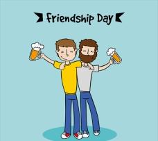 卡通一起喝啤酒的朋友