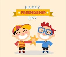 卡通友谊日击掌的朋友