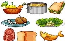 白底不同种类的美食插图