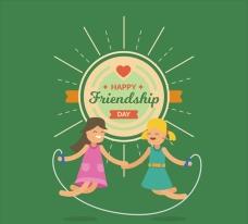 快乐的友谊日一起跳绳海报