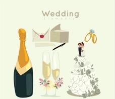 香槟与婚礼元素