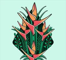 手画抽象的热带花卉