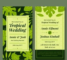 热带叶子的婚礼请柬
