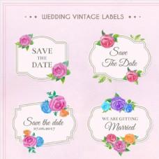 花卉婚礼的标签集合