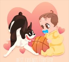 友谊日宝宝的小狗朋友背景