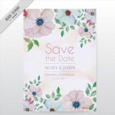 水粉花卉婚礼邀请卡