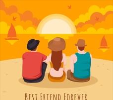 友谊日一起看日落的朋友