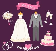 粉色细节的婚礼元素
