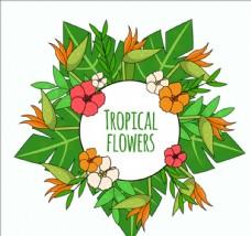 平面异国热带花卉的背景