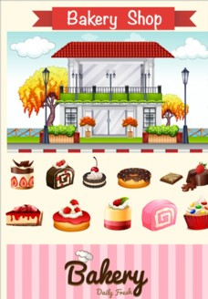 面包店和甜点插图