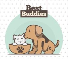 可爱的小狗友谊日背景